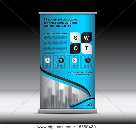 Blue Roll Up Banner template vector illustration, standy design, display, advertisement , pull up