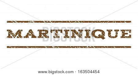 Martinique watermark stamp. Text tag between horizontal parallel lines with grunge design style. Rubber seal stamp with scratched texture. Vector brown color ink imprint on a white background.