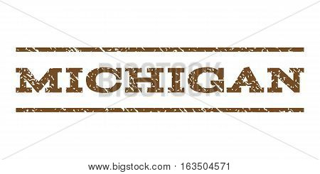 Michigan watermark stamp. Text tag between horizontal parallel lines with grunge design style. Rubber seal stamp with dirty texture. Vector brown color ink imprint on a white background.