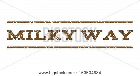 Milky Way watermark stamp. Text caption between horizontal parallel lines with grunge design style. Rubber seal stamp with unclean texture. Vector brown color ink imprint on a white background.