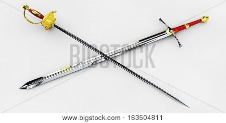 handed medieval knight sword 3d illustration isolated