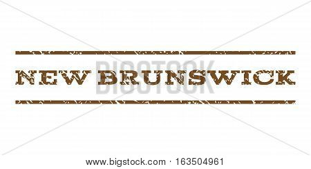 New Brunswick watermark stamp. Text tag between horizontal parallel lines with grunge design style. Rubber seal stamp with unclean texture. Vector brown color ink imprint on a white background.