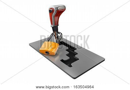 3d illustration of automatic gearbox selector black background