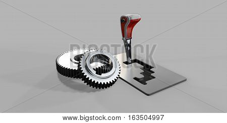 3d illustration of automatic gearbox selector gray background