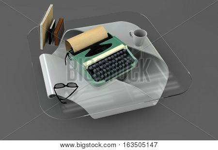 Writer desk mockup set. Desk with typewriter book and glasses. Workplace of writer or journalist. 3d illustration