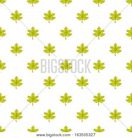 Green maple leaf pattern. Cartoon illustration of green maple leaf vector pattern for web