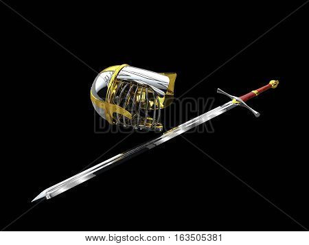 medieval knight sword and helmet 3d illustration isolated
