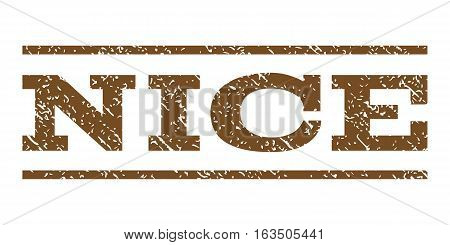 Nice watermark stamp. Text caption between horizontal parallel lines with grunge design style. Rubber seal stamp with scratched texture. Vector brown color ink imprint on a white background.
