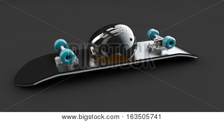 3d Illustration of Skateboard whit skate helmet deck isolated