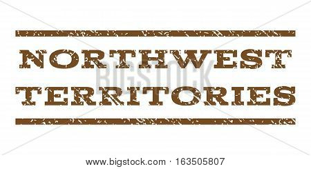 Northwest Territories watermark stamp. Text tag between horizontal parallel lines with grunge design style. Rubber seal stamp with dust texture. Vector brown color ink imprint on a white background.