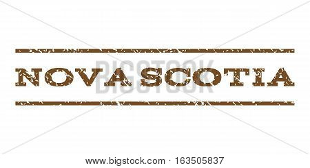 Nova Scotia watermark stamp. Text caption between horizontal parallel lines with grunge design style. Rubber seal stamp with dust texture. Vector brown color ink imprint on a white background.