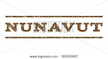 Nunavut watermark stamp. Text tag between horizontal parallel lines with grunge design style. Rubber seal stamp with unclean texture. Vector brown color ink imprint on a white background.