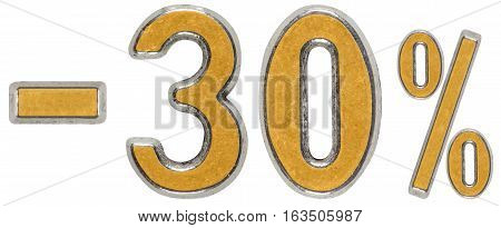 Percent Off. Discount. Minus 30, Thirty, Three,  Percent. Metal Numeral, Isolated On White Backgroun