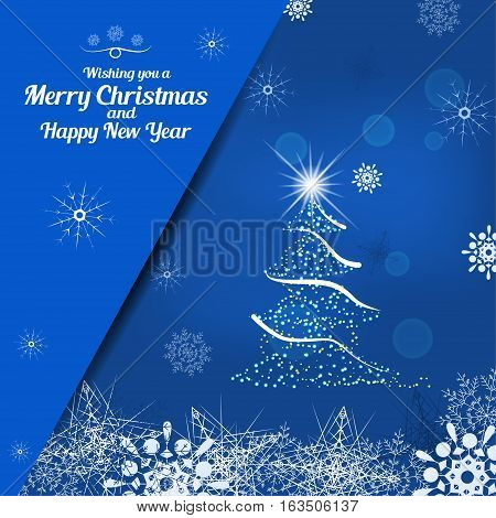 Vector illustration of empty greetings card for Merry Christmas and Happy New Year on the abstract blue background with christmas tree snowflakes and pocket for insert.