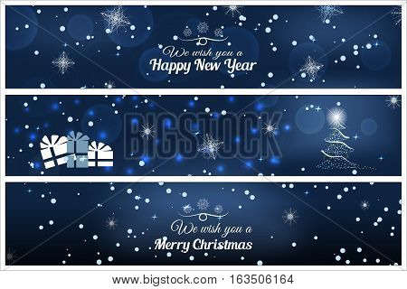 Vector illustration of greetings bookmarks for Merry Christmas and Happy New Year on the abstract dark blue background with christmas tree snow stars snowflakes.