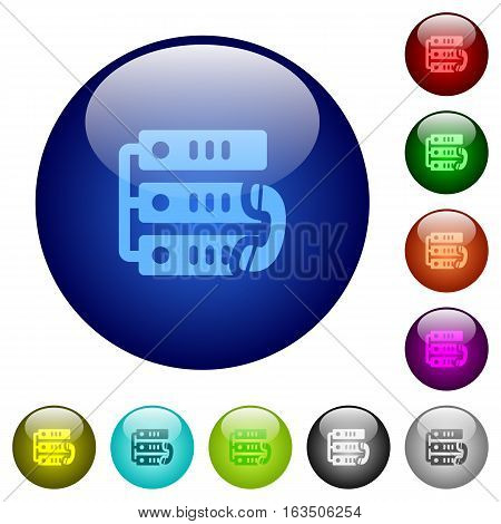 VoIP call icons on round color glass buttons