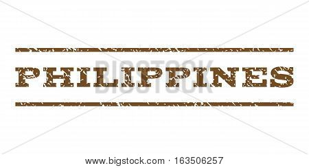 Philippines watermark stamp. Text tag between horizontal parallel lines with grunge design style. Rubber seal stamp with dirty texture. Vector brown color ink imprint on a white background.