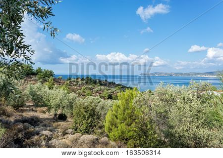 Landscape of the sea on Thassos island East Macedonia and Thrace Greece