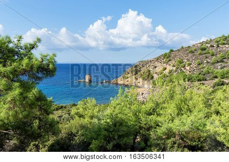 Amazing Landscape of the sea on Thassos island East Macedonia and Thrace Greece