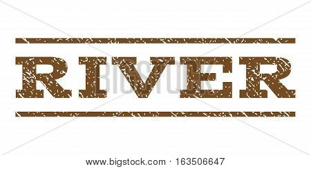 River watermark stamp. Text caption between horizontal parallel lines with grunge design style. Rubber seal stamp with unclean texture. Vector brown color ink imprint on a white background.
