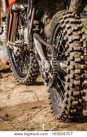 Close-up view to the motocross off-road bike