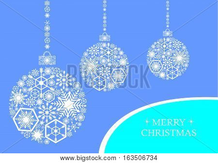 White christmas balls with snowflakes on a blue background. Holiday card