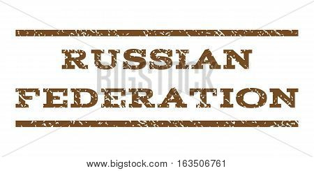 Russian Federation watermark stamp. Text tag between horizontal parallel lines with grunge design style. Rubber seal stamp with unclean texture. Vector brown color ink imprint on a white background.