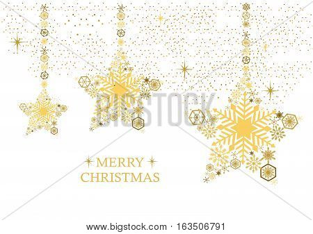 Golden christmas stars with snowflakes on a white background. Holiday card