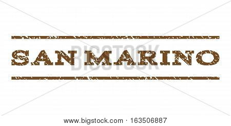 San Marino watermark stamp. Text tag between horizontal parallel lines with grunge design style. Rubber seal stamp with dust texture. Vector brown color ink imprint on a white background.