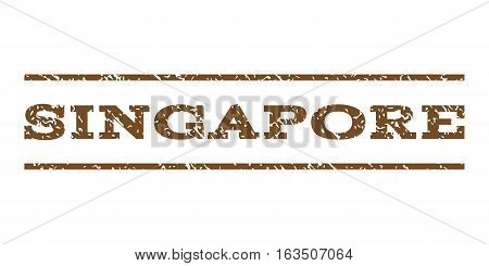 Singapore watermark stamp. Text tag between horizontal parallel lines with grunge design style. Rubber seal stamp with dirty texture. Vector brown color ink imprint on a white background.