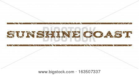 Sunshine Coast watermark stamp. Text tag between horizontal parallel lines with grunge design style. Rubber seal stamp with dirty texture. Vector brown color ink imprint on a white background.