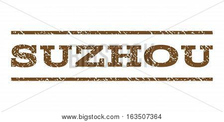 Suzhou watermark stamp. Text caption between horizontal parallel lines with grunge design style. Rubber seal stamp with scratched texture. Vector brown color ink imprint on a white background.