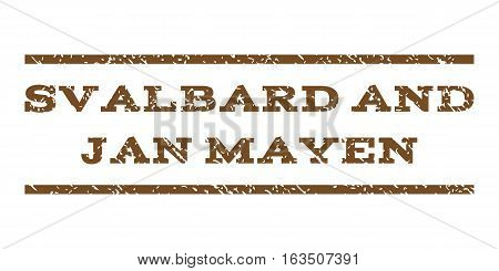 Svalbard and Jan Mayen watermark stamp. Text tag between horizontal parallel lines with grunge design style. Rubber seal stamp with dust texture. Vector brown color ink imprint on a white background.