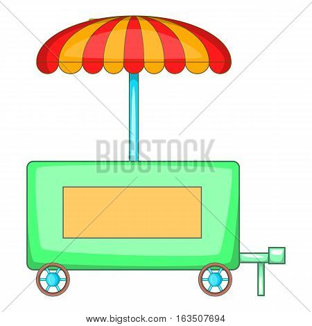 Hot dog trailer icon. Cartoon illustration of hot dog trailer vector icon for web design