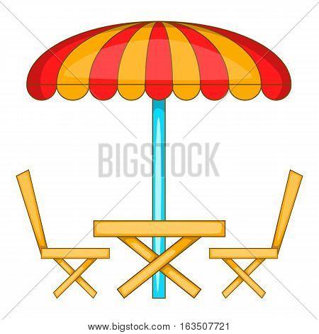 Cafe table with sun umbrella icon. Cartoon illustration of cafe table with sun umbrella vector icon for web design