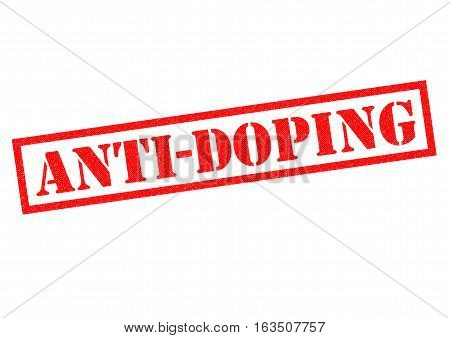 ANTI-DOPING red Rubber Stamp over a white background.