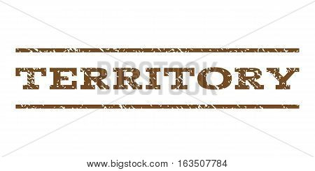 Territory watermark stamp. Text tag between horizontal parallel lines with grunge design style. Rubber seal stamp with unclean texture. Vector brown color ink imprint on a white background.