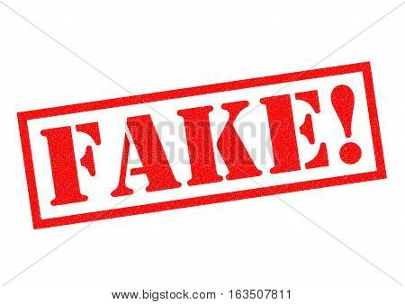FAKE! red Rubber Stamp over a white background.
