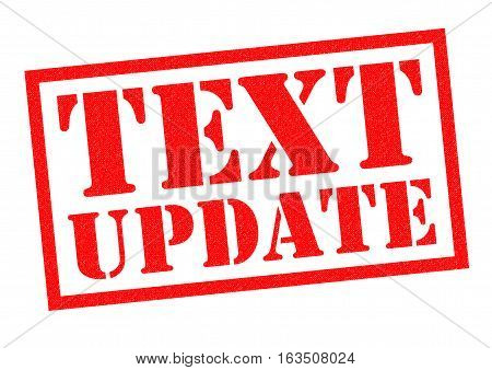 TEXT UPDATE red Rubber Stamp over a white background.