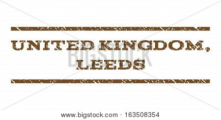 United Kingdom, Leeds watermark stamp. Text tag between horizontal parallel lines with grunge design style. Rubber seal stamp with dirty texture. Vector brown color ink imprint on a white background.