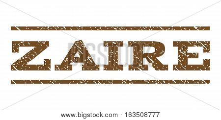 Zaire watermark stamp. Text tag between horizontal parallel lines with grunge design style. Rubber seal stamp with scratched texture. Vector brown color ink imprint on a white background.