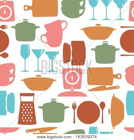 Kitchenware flat design silhouette vector seamless pattern