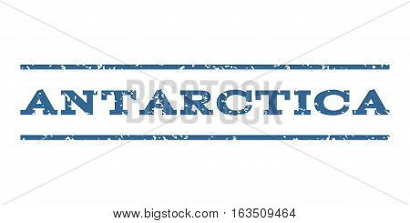 Antarctica watermark stamp. Text caption between horizontal parallel lines with grunge design style. Rubber seal stamp with dirty texture. Vector cobalt color ink imprint on a white background.