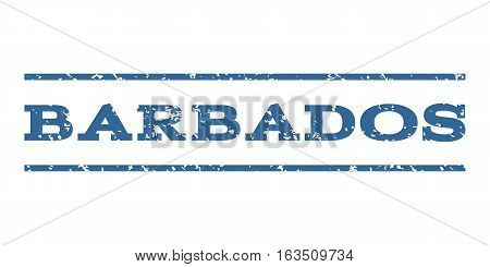 Barbados watermark stamp. Text tag between horizontal parallel lines with grunge design style. Rubber seal stamp with unclean texture. Vector cobalt color ink imprint on a white background.