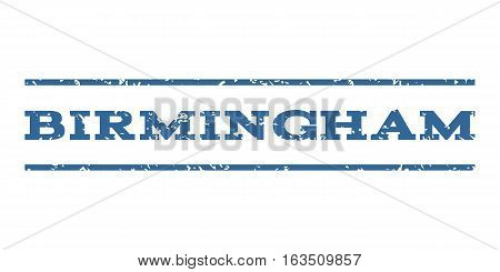 Birmingham watermark stamp. Text caption between horizontal parallel lines with grunge design style. Rubber seal stamp with scratched texture. Vector cobalt color ink imprint on a white background.