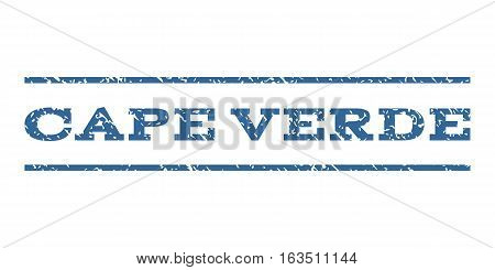 Cape Verde watermark stamp. Text tag between horizontal parallel lines with grunge design style. Rubber seal stamp with dust texture. Vector cobalt color ink imprint on a white background.
