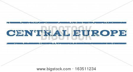 Central Europe watermark stamp. Text tag between horizontal parallel lines with grunge design style. Rubber seal stamp with dirty texture. Vector cobalt color ink imprint on a white background.
