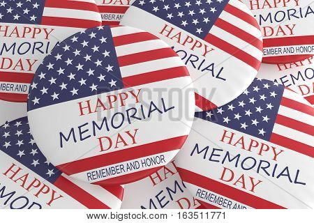 Pile of Happy Memorial Day Badges With US Flag 3d illustration