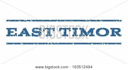 East Timor watermark stamp. Text tag between horizontal parallel lines with grunge design style. Rubber seal stamp with dirty texture. Vector cobalt color ink imprint on a white background.