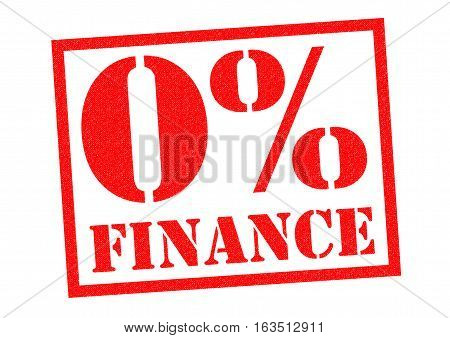 0% FINANCE red Rubber Stamp over a white background.